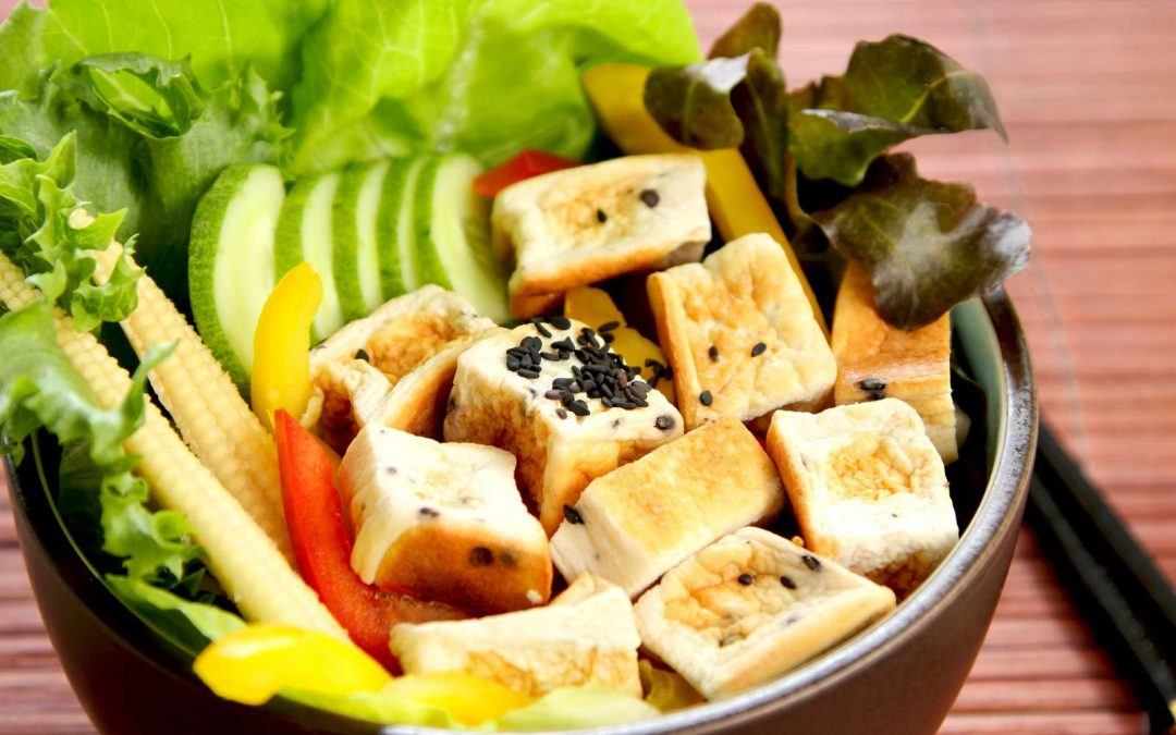 Baked Tofu with Pepper and Bok Choy